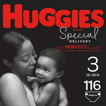HUGGIES Special Delivery Baby Diapers, Hypoallergenic, Size 3, 116 (Huggies Little Movers Size 3 28 Count)