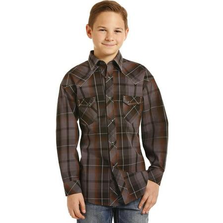 Rock & Roll Cowboy Boys Yarndye Poplin Plaid Long Sleeve Snap Shirt (Handsome Boy Modeling School Rock And Roll)