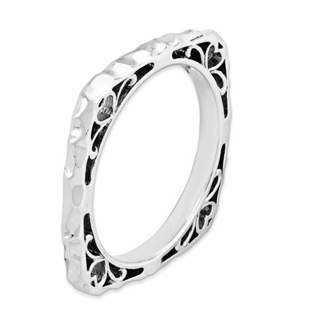 Sterling Silver Stackable Expressions Polished Rhodium-plate Square Ring Size 9 - image 1 de 3
