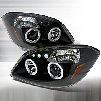 Chevrolet Cobalt 2005 2006 2007 2008 2009 2010 LED Halo Projector Headlights - Black (Cobalt Lid)