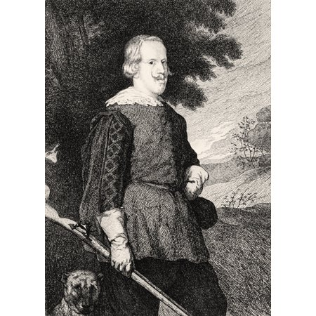 Felipe Iv King Of Spain In Hunting Costume 19Th Century Engraving After Diego Vel - Spaniard Costume