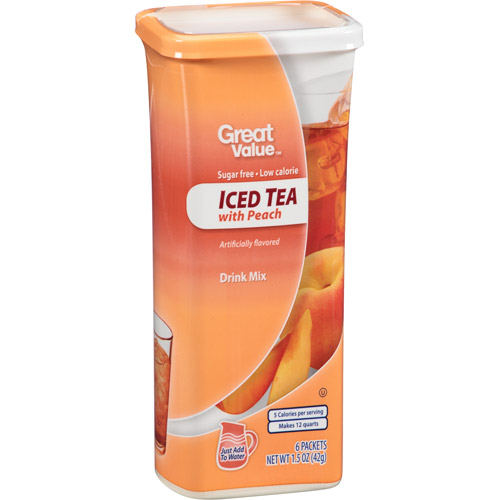 Great Value: Iced Tea With Peach Drink Mix, 1.5 oz