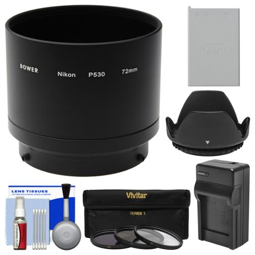 Bower ANP53072 Conversion Adapter Tube for Nikon Coolpix P530 Camera (72mm) with EN-EL5 Battery & Charger + 3 UV/CPL/ND8 Filters + Lens Hood + Cleaning Kit