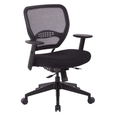 Office Star Air Grid Back and Black Mesh Seat, Adjustable Angled Arms, Seat Slider and Angled Nylon Base