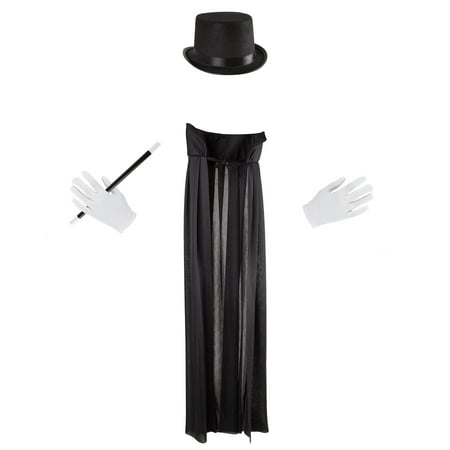 Kids Magician Costume Set-Dress Up Outfit with Cape, Top Hat, Gloves, Wand- Fun Pretend Play Magic Show Accessories for Boys and Girls by Hey! Play!