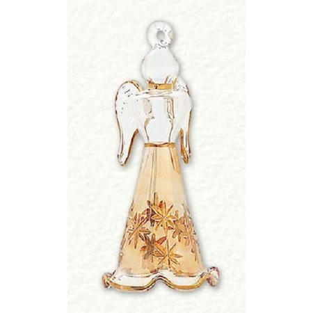 Yellow and Clear Standing Angel Egyptian Blown Glass Christmas Ornament Egypt ()