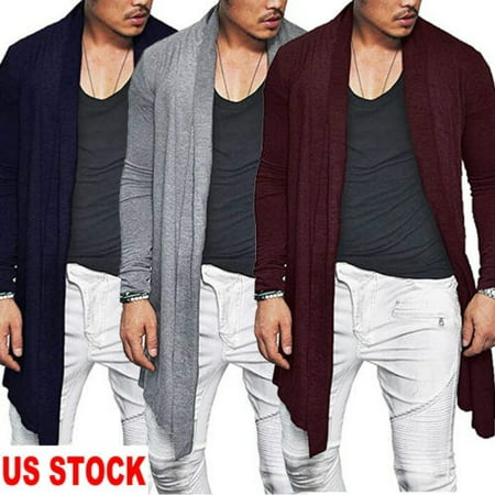 USA Stylish Mens Knitted Cardigan Jacket Slim Long Sleeve Casual Sweater Coat (Mens Business Casual Cardigan)