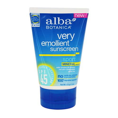 Alba Botanica  Spf 45 Very Emollient Sunscreen Sport Mineral Protection  - 4 Oz