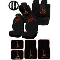 26PC Paris in Love Eiffel Tower Red Flower Universal Seat Covers & Carpet Floor Mat Set Car Truck SUV