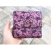 Michael Kors Small Trifold Wallet Card Case Carryall Damson Purple Floral