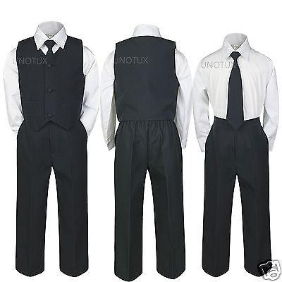 Kid Teen Baby Toddler Boy Wedding Easter Recital Formal Vest Suit BLACK sz S-20