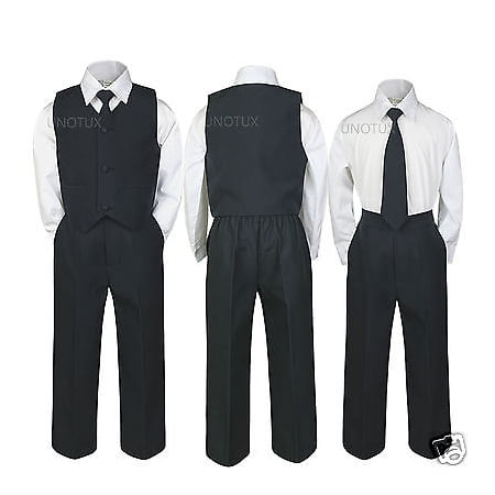 Kid Teen Baby Toddler Boy Wedding Easter Recital Formal Vest Suit BLACK sz