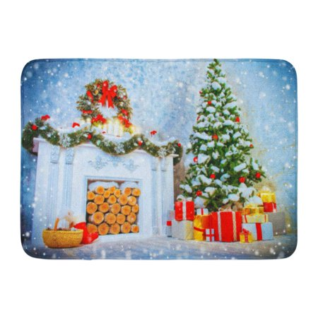 GODPOK White Accessories Interior Room with Fireplace and Christmas Tree Beautifully Decorated for Holidays Rug Doormat Bath Mat 23.6x15.7 inch](Decorate Classroom Door For Christmas)