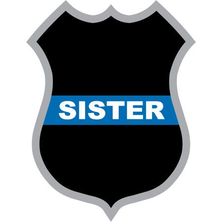 3.8 Inch Thin Blue Line Sister Police Badge Decal