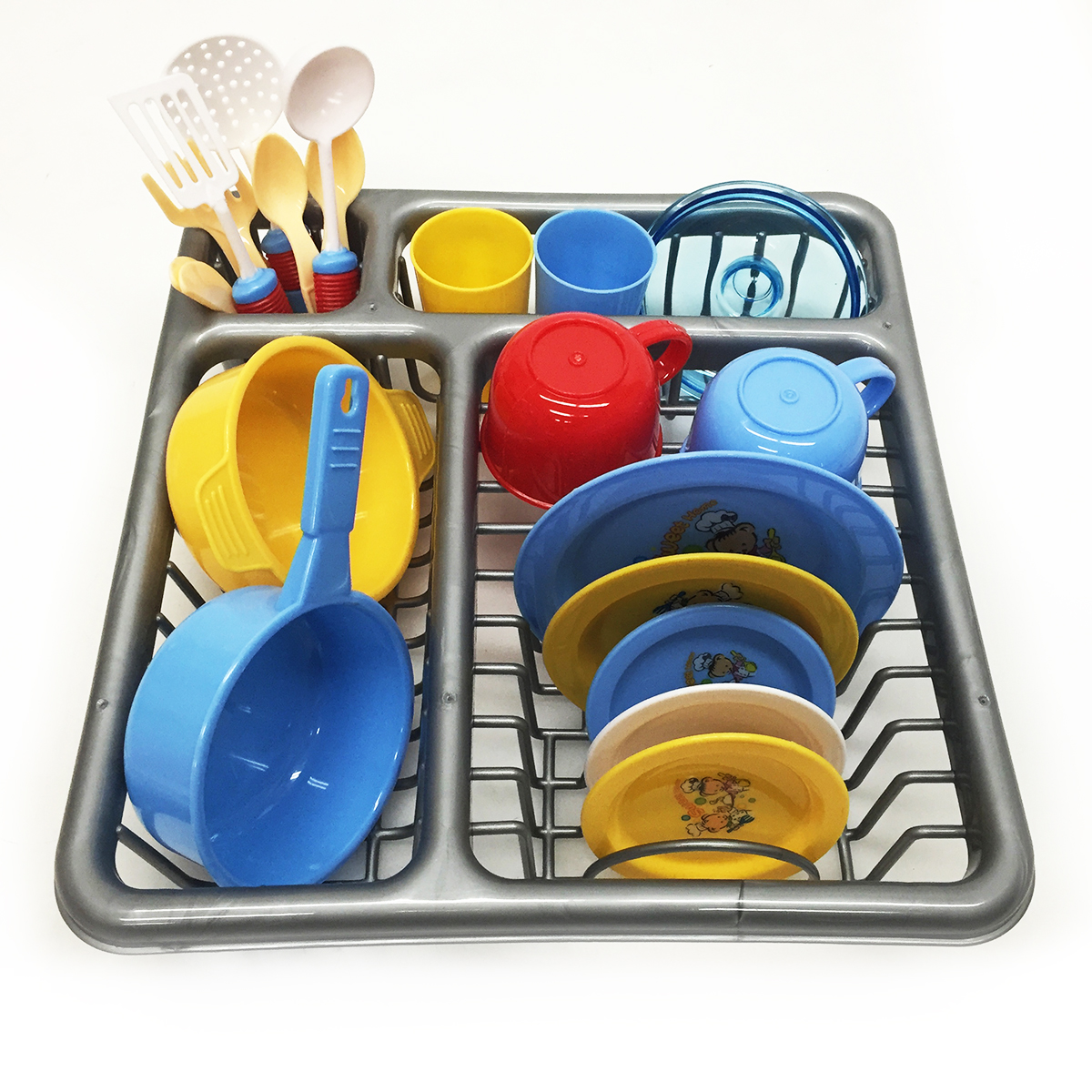Kids Pretend Play Wash and Dry Dish Set with Drying Rack Playware Playset by Apontus