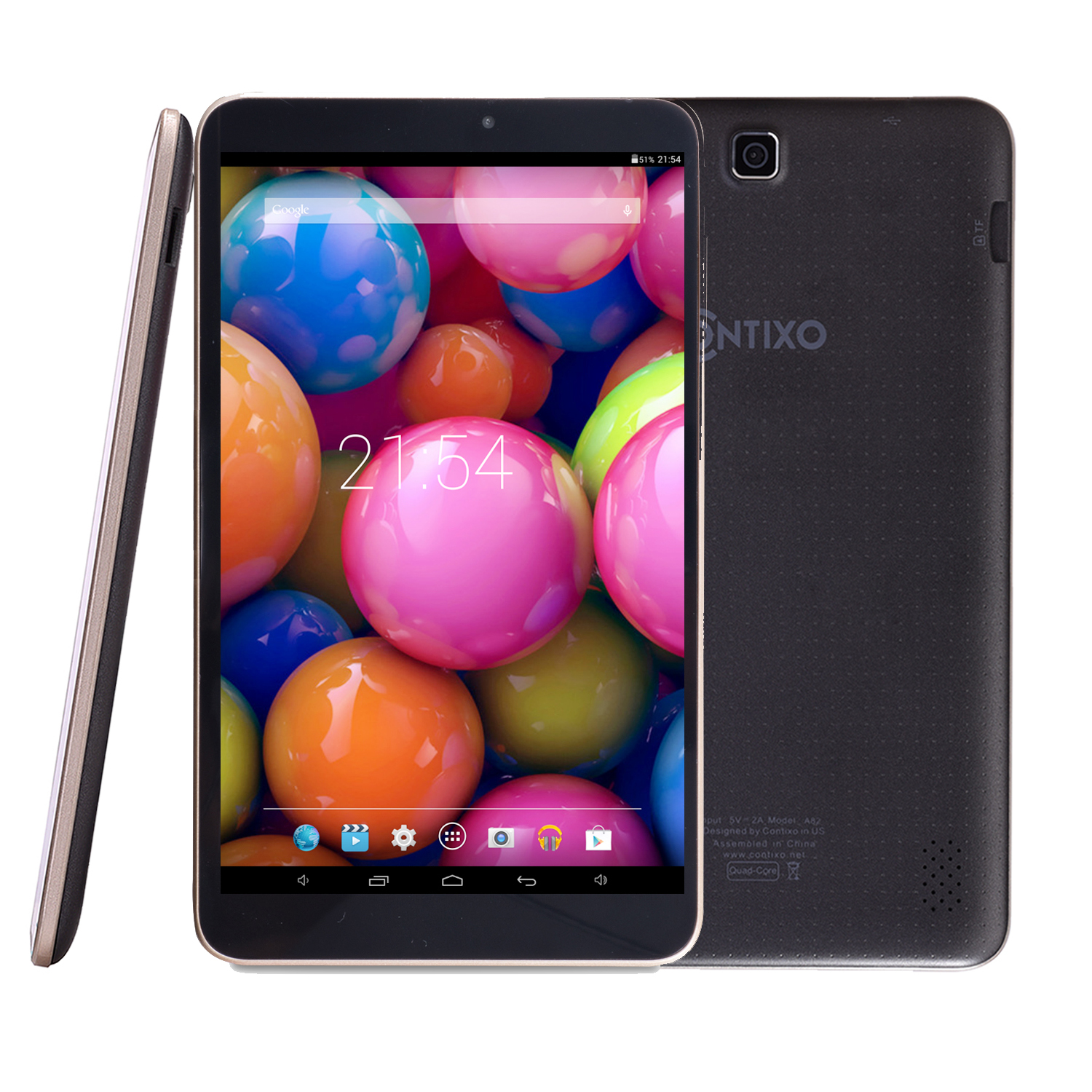 Contixo 8'' Quad Core Android 4.4 Tablet, IPS Screen 1280x800 Display, 1GB Memory, 8GB Nand Flash, Wi-Fi, Bluetooth (Black)