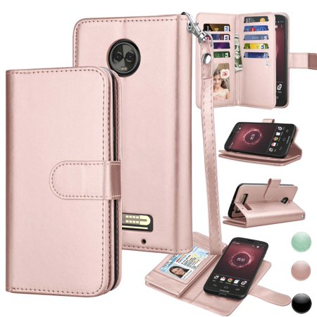 brand new da338 17ce6 Moto Z3 Play Wallet Case, Z3 Play Pu Leather Case, Njjex Pu Leather Magnet  Stand Wallet Credit Card Holder Flip Case Cover Built-in 9 Card Slots Case  ...