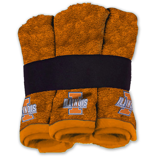 NCAA Illinois Fighting Illini Wash Cloth Set, 6pk