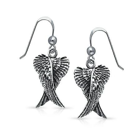 Angel Fish Earrings (Guardian Angel Wings Feather Dangle Earrings For Women For Teen Oxidized 925 Sterling Silver Fish Hook)