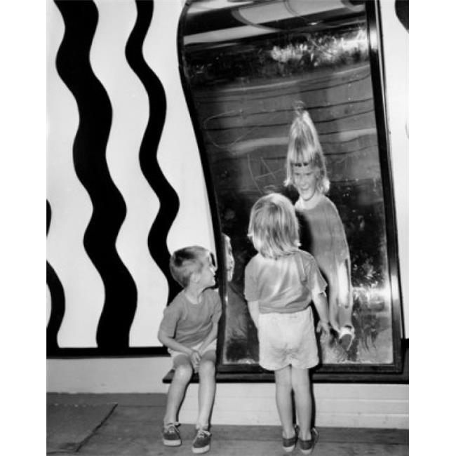 Posterazzi SAL255975 Rear View of a Girl & a Boy Looking in a Fun House Mirror Poster Print - 18 x 24 in. - image 1 of 1