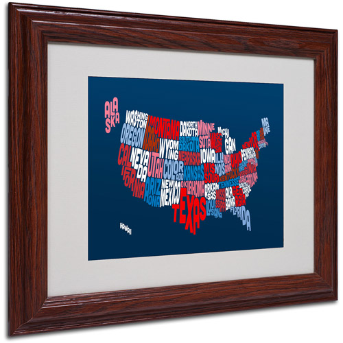 "Trademark Fine Art ""USA States Txt Map 2"" Matted Framed Art by Michael Tompsett"