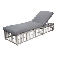 Better Homes & Gardens Belfair Outdoor Wicker Chaise Lounge with Gray Cushions