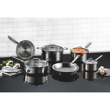 T-fal, ExpertPro Stainless Steel, E759SC64, Techno Release, Induction Compatible Cookware, 12 Pc. Set, Silver