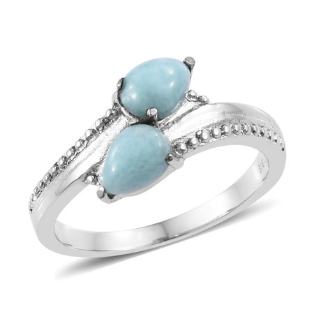 Statement Ring Stainless Steel Pear Larimar Jewelry for - Larimar Pear Ring