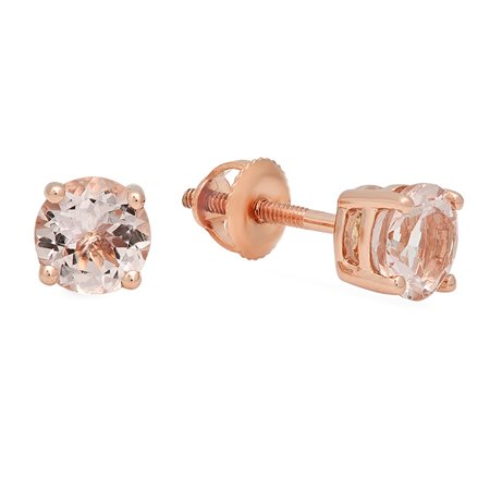 (18K Rose Gold Round Cut Morganite Ladies Solitaire Stud Earrings)