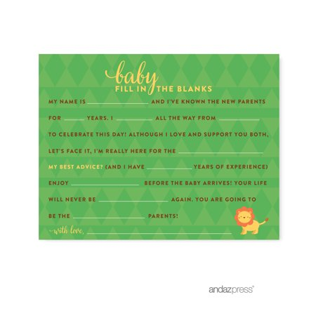 Fill-In-The-Blank  Jungle Safari Baby Shower Games, 20-Pack - Jungle Safari Baby Shower