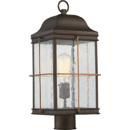 Outdoor Post Light 1 Light With Bronze with Copper Accents Finish A19 Incandescent 9 inch 60 Watts Copper Bronze Outdoor Post Light