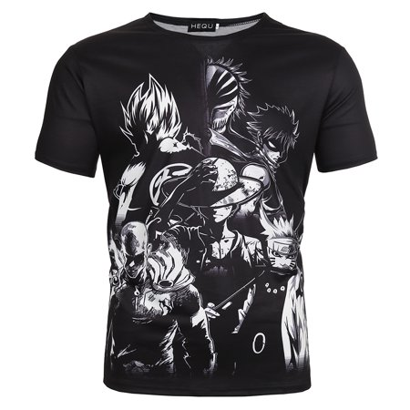 KABOER Fashion New Japanese Anime Character Black Short-sleeved T-shirt Classic T-shirt for Men