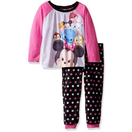 Disney Girls' Tsum Tsum 2-Piece Pajama Jogger Set, Pink, Size: 6 - Disney Luxe Pajamas