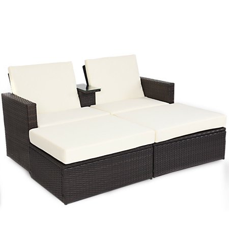 Double Lying Bed Chaise Lounge Chair Set Garden Rattan Wicker Outdoor Love Seat ()