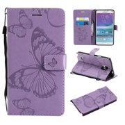 Note 4 Case, Samsung Galaxy Note 4 Case - Allytech Premium Wallet PU Leather with Fashion Embossed Floral Butterfly Magnetic Clasp Card Holders Flip Cover with Hand Strap, Purple