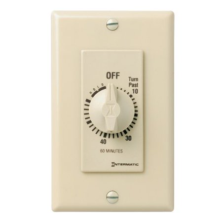 Intermatic FD60MH 60-Minute Spring-Loaded Wall Timer for Fans and Lights, Ivory - Original Fan Light Wall