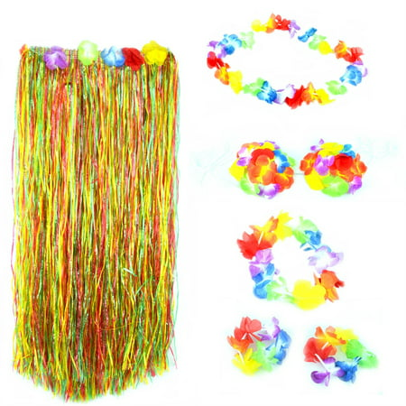 Colorful Hawaiian Tropical Theme Party Hula Luau Grass Dancer Skirt and Bra Set - Luau Themes