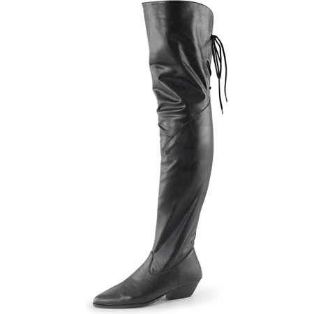 Womens Lace Up Thigh High Boots Black Over the Knee Pull Ons 1 1/2 Inch Heel