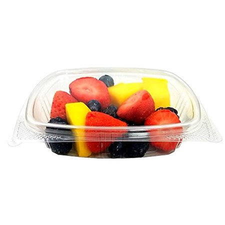 Koda Cup 8 oz. RPET Clear Plastic Hinged Lid Deli Meal Prep Fruit Salad Display Food Storage Containers (Pack of 12) - Halloween Food Display