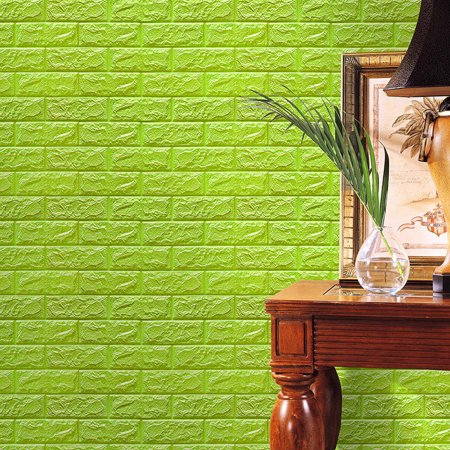 Iuhan PE Foam 3D Wallpaper DIY Wall Stickers Wall Decor Embossed Brick Stone Green (Wallpapers Halloween 3d Gratis)