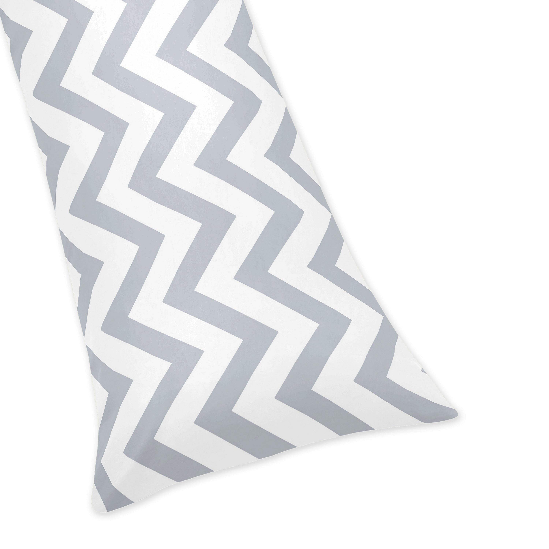 Sweet Jojo Designs Gray And White Chevron Zig Zag Full Length Double Zippered Body Pillow Case Cover Walmart Com