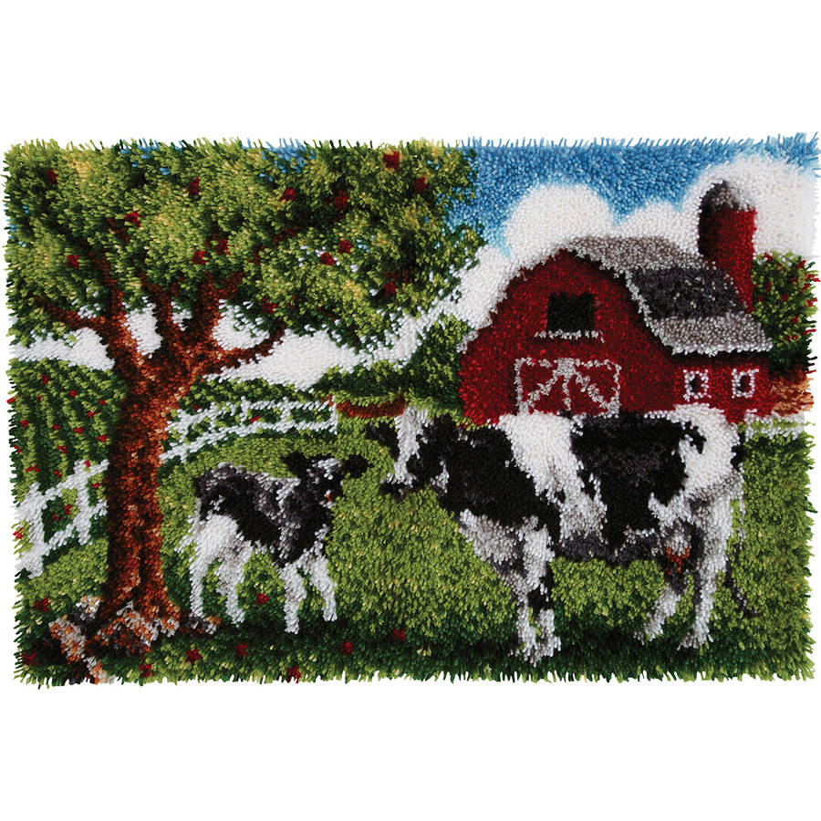 "Wonderart Latch Hook Kit, 27"" x 40"", Contented Cows"
