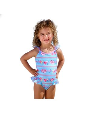 6df82a3006 Product Image Sun Emporium Little Girls Sky Blue Pink Cross Over Back Ties  Swimsuit