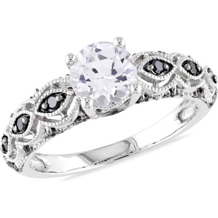 1 Carat T.G.W. Created White Sapphire and 1/4 Carat T.W. Black Diamond 10k White Gold Engagement Ring (Black Diamond Ring Engagement)