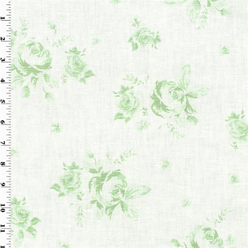 White Cotton Green Printed Floral Home Decorating Fabric, Fabric By the Yard