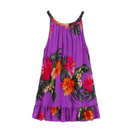 Girl Round Neck Tunic Hawaiian Luau Dress in Purple 8 - Luau Items