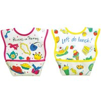 Dexbaby Waterproof Dura-Bib Small, Patented Catch-All Pocket, 2-Pack(Princess, Lunch)