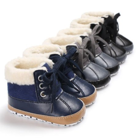 Warm and comfortable Baby boy Winter Non-slip Soft soles Leather plush boots 0-18