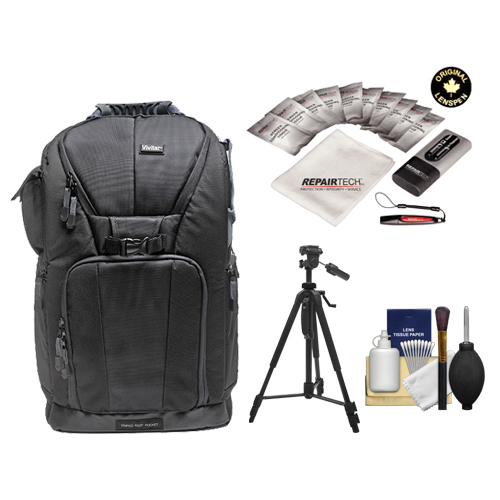 "Vivitar Series One Digital SLR Camera/Laptop Sling Backpack Large (Black) Holds Most 17'"" Laptops with 58"" Tripod Kit for Canon, Nikon, Olympus, Panasonic, Fuji & Sony Alpha Cameras"