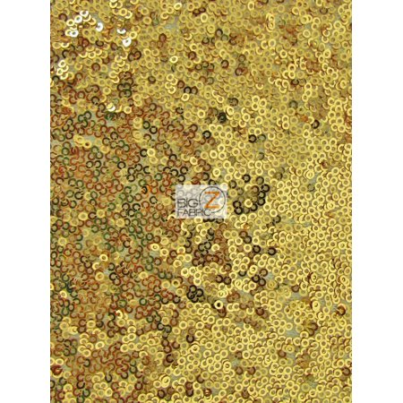 Mini Disc Sequin Nylon Mesh Fabric / Shiny Gold / Sold By The - Pattern Nylon Spandex
